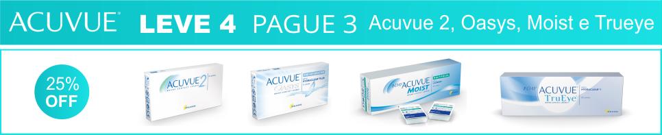 Acuvue Leve 4 Pague 3 - Acuvue 2, Oasys, Moist e Trueye