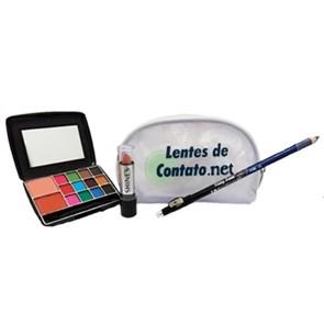 KIT MAQUIAGEM  (Contém:1 Lápis Duo Delineador para Olhos e Lábios com Apontador, 1 Kit com 12 Sombras Foscas e 2 Blush, 1 Batom Bastão Matte Nudes Shine´s, 1 Necessaire lentedecontato.net)